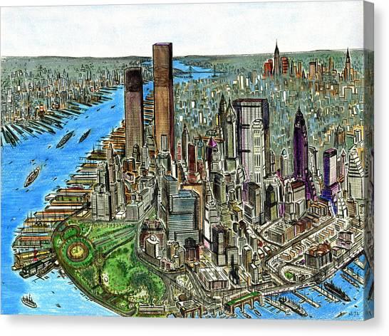 New York Downtown Manhattan 1972 Canvas Print