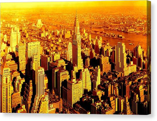 Manhattan And Chrysler Building Canvas Print