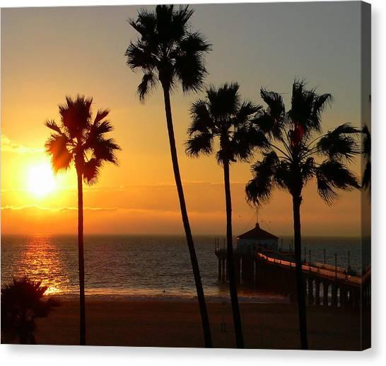 Manhattan Beach Pier And Palms At Sunset Canvas Print