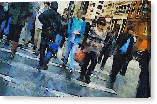 Faces In The Crowd Canvas Print - Manhattan Crosswalk by Dan Sproul