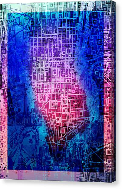 Manhattan Skyline Canvas Print - Manhattan Map Abstract 5 by Bekim M