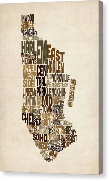 Manhattan Canvas Print - Manhattan New York Typography Text Map by Michael Tompsett
