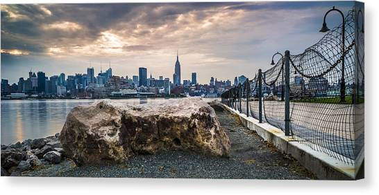 Manhattan Over The Hudson Canvas Print by Chris Halford