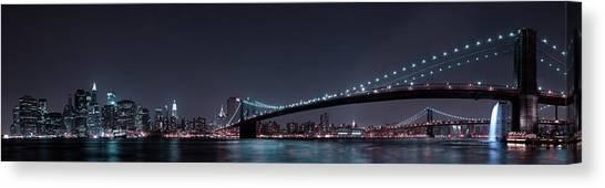 Metropolis Canvas Print - Manhattan Skyline And Brooklyn Bridge by Fabien Bravin