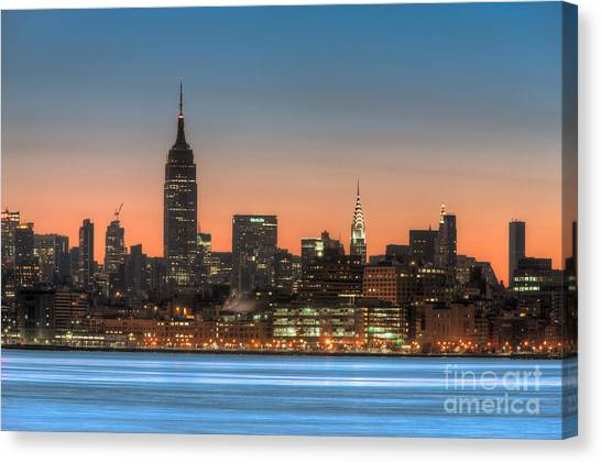 Manhattan Skyline And Pre-sunrise Sky I Canvas Print