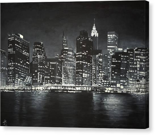 Canvas Print featuring the painting Manhattan Skyline At Night by Jennifer Hotai