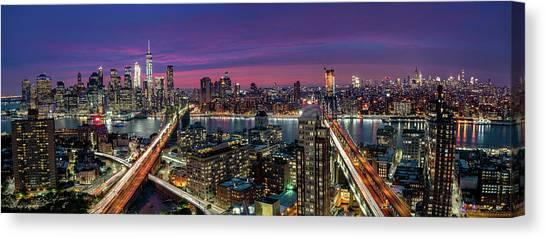 Manhattan Canvas Print - Manhattan Skyline During Beautiful Sunset by Thomas D M?rkeberg