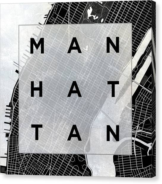 Text Canvas Print - Manhattan Square Bw by South Social Studio