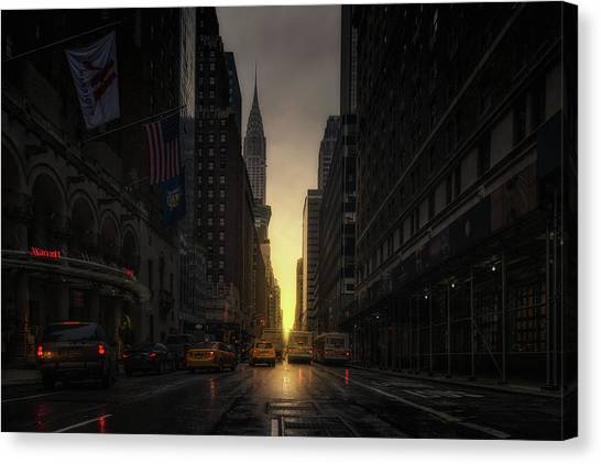 Chrysler Building Canvas Print - Manhattanhenge by David Mart?n Cast?n