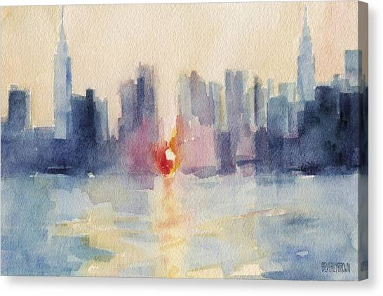 Sunsets Canvas Print - Manhattanhenge New York Skyline Painting by Beverly Brown Prints