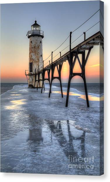 Northern Michigan Canvas Print - Manistee Lighthouse At Sunet by Twenty Two North Photography
