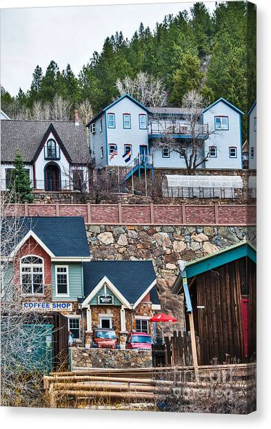 Canvas Print featuring the digital art Manitou Springs Villiage by Mae Wertz