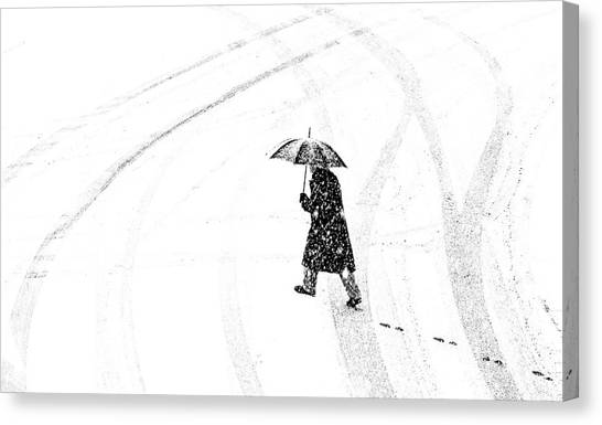 Street Canvas Print - Mann Mit Schirm /a Man Of Umbrellaed by Anette Ohlendorf