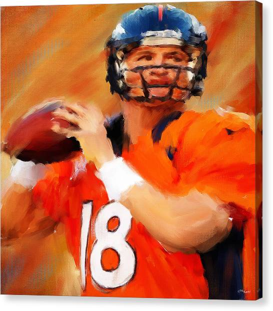 Peyton Manning Canvas Print - Manning by Lourry Legarde