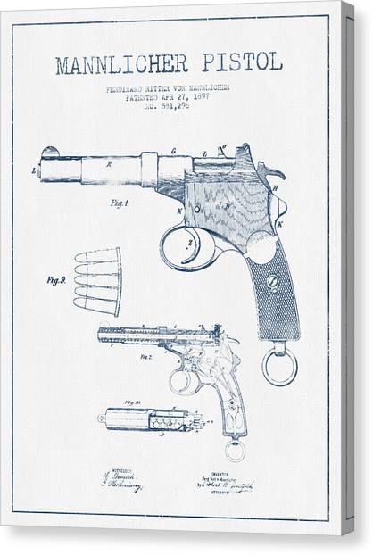 Weapons Canvas Print - Mannlicher Pistol Patent Drawing From 1897  -  Blue Ink by Aged Pixel