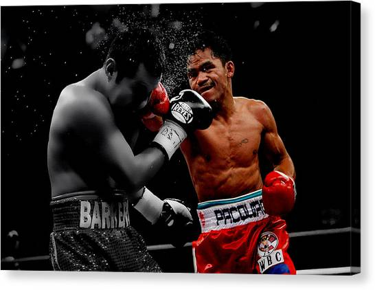 Floyd Mayweather Canvas Print - Manny Pacquiao by Brian Reaves