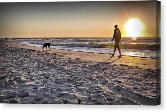 Man's Best Friend On Beach Canvas Print