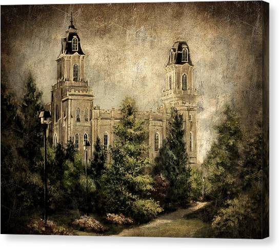 Manti Utah Temple-pathway To Heaven Antique Canvas Print