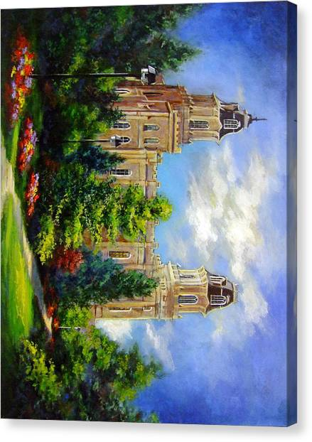 Manti Utah Temple-pathway To Heaven Canvas Print