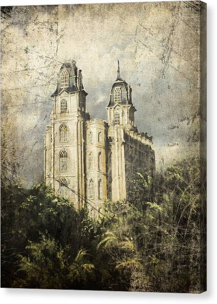 Manti Utah Temple Sentinel Antique Canvas Print