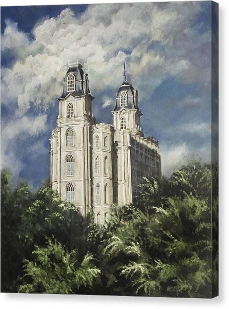 Manti Utah Temple Sentinel Pastel Canvas Print