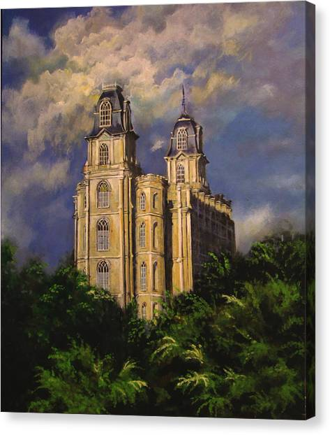 Manti Utahtemple Sentinel Canvas Print