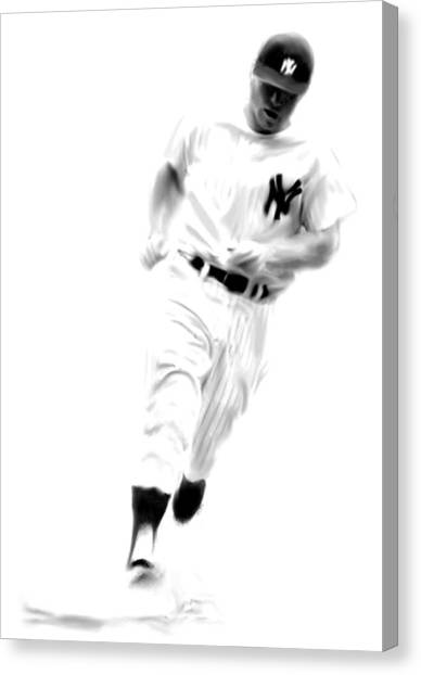 Mickey Mantle Canvas Print - Mantles Gate  Mickey Mantle by Iconic Images Art Gallery David Pucciarelli