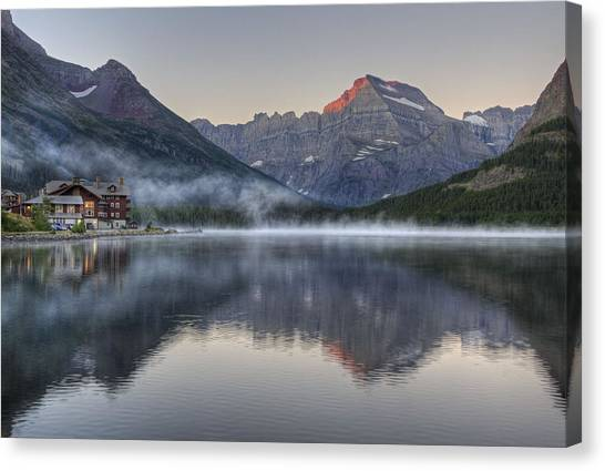 Many Glacier Hotel On Swiftcurrent Lake Canvas Print