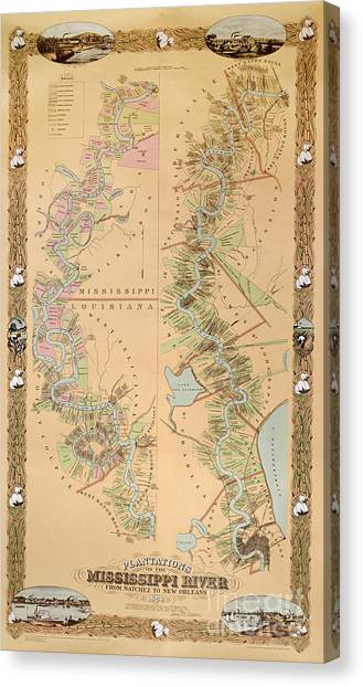 Mississippi River Canvas Print - Map Depicting Plantations On The Mississippi River From Natchez To New Orleans by American School