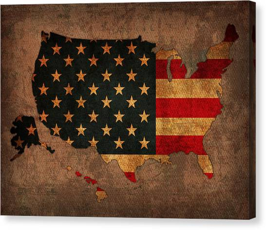 United States Of America Canvas Print - Map Of America United States Usa With Flag Art On Distressed Worn Canvas by Design Turnpike