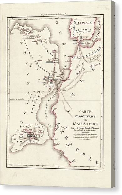Gorgons Canvas Print - Map Of Atlantis by Library Of Congress, Geography And Map Division