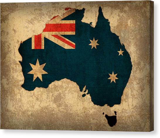 With Canvas Print - Map Of Australia With Flag Art On Distressed Worn Canvas by Design Turnpike