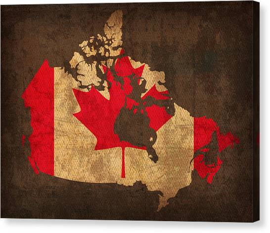 With Canvas Print - Map Of Canada With Flag Art On Distressed Worn Canvas by Design Turnpike