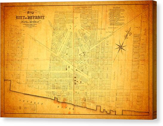 America Map Canvas Print - Map Of Detroit Michigan C 1835 by Design Turnpike