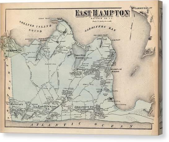 Map Of East Hampton 1873 Canvas Print
