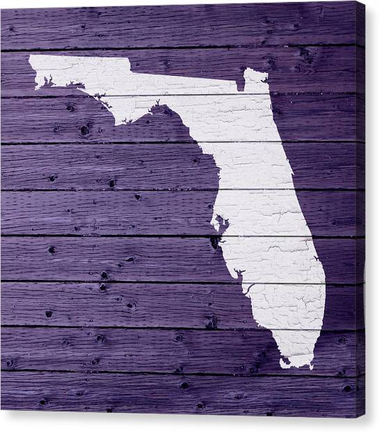 Florida State Canvas Print - Map Of Florida State Outline White Distressed Paint On Reclaimed Wood Planks by Design Turnpike