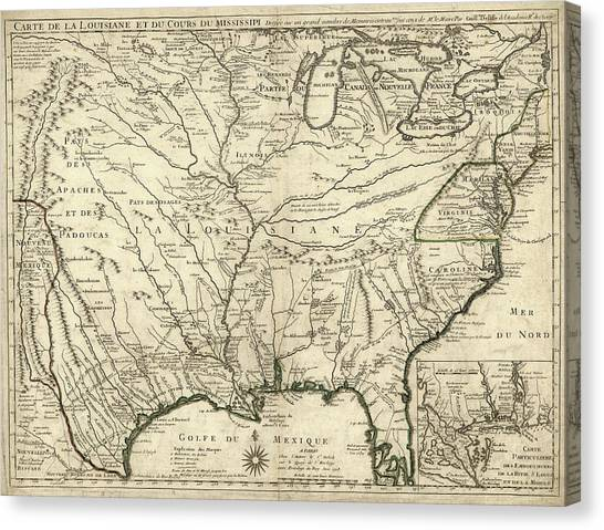 Mississippi River Canvas Print - Map Of French Louisiana by Library Of Congress, Geography And Map Division