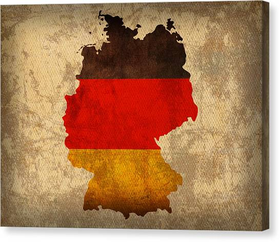 With Canvas Print - Map Of Germany With Flag Art On Distressed Worn Canvas by Design Turnpike