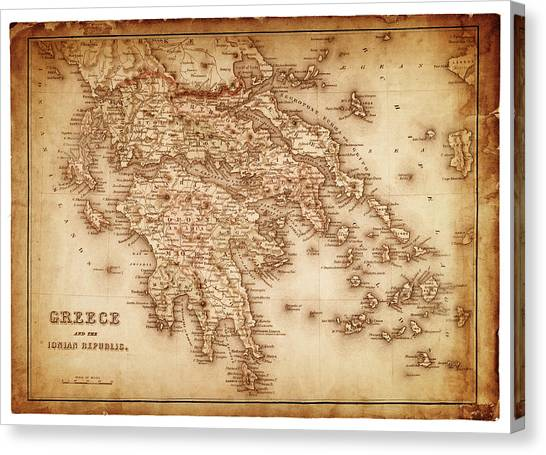 Map Of Greece 1854 Canvas Print