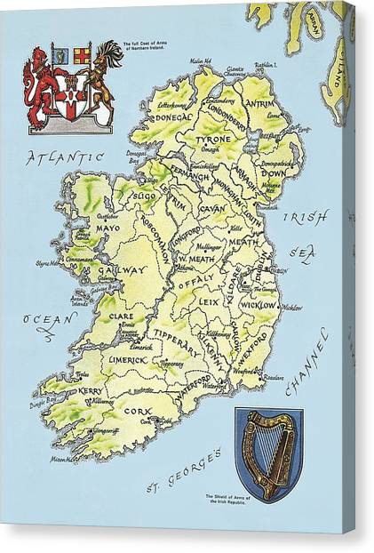 Map Canvas Print - Map Of Ireland by English School