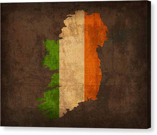 Flags Canvas Print - Map Of Ireland With Flag Art On Distressed Worn Canvas by Design Turnpike