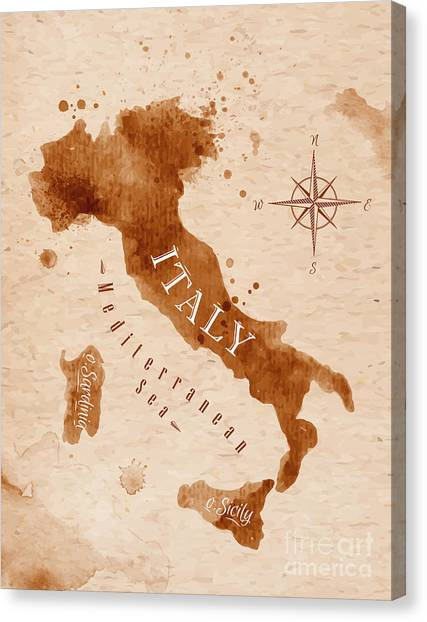 Planet Canvas Print - Map Of Italy In Old Style, Brown by Anna42f