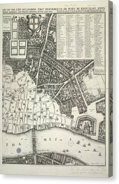 Tower Of London Canvas Print - Map Of London by British Library
