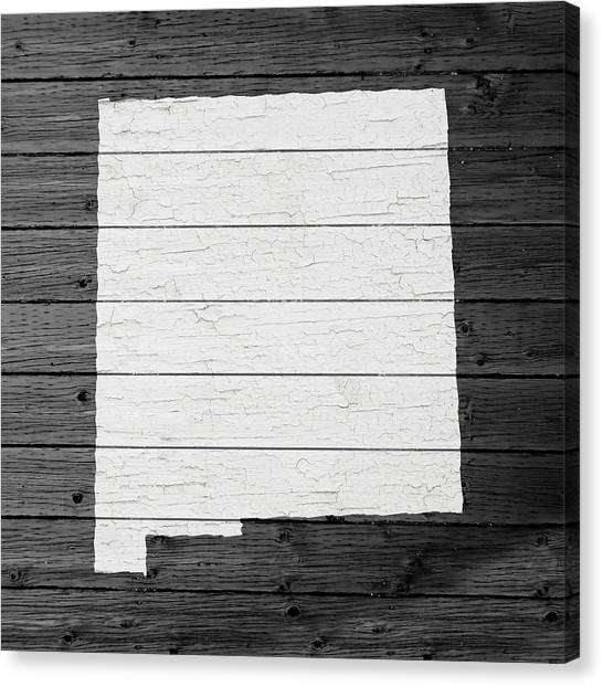 New Mexico Map Canvas Print - Map Of New Mexico State Outline White Distressed Paint On Reclaimed Wood Planks by Design Turnpike