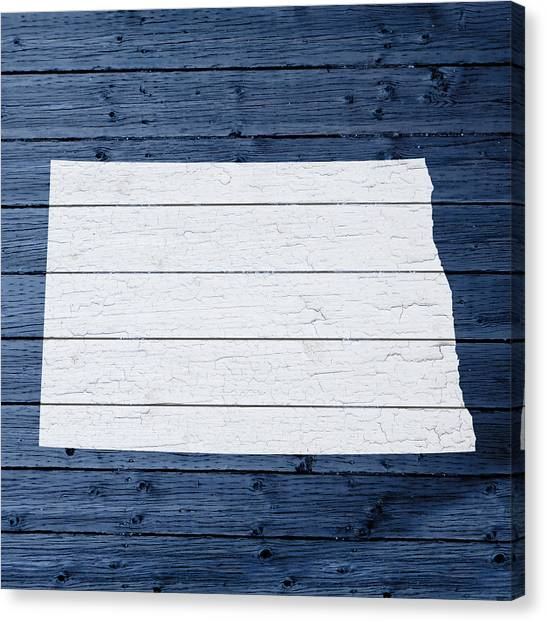 North Dakota Canvas Print - Map Of North Dakota State Outline White Distressed Paint On Reclaimed Wood Planks by Design Turnpike
