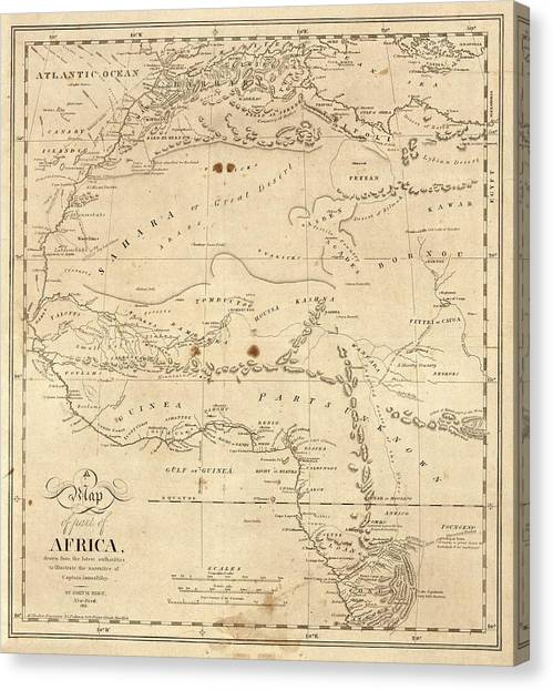 Sahara Desert Canvas Print - Map Of North-western Africa by Library Of Congress, Geography And Map Division