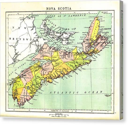 map of Nova Scotia - 1878 Canvas Print