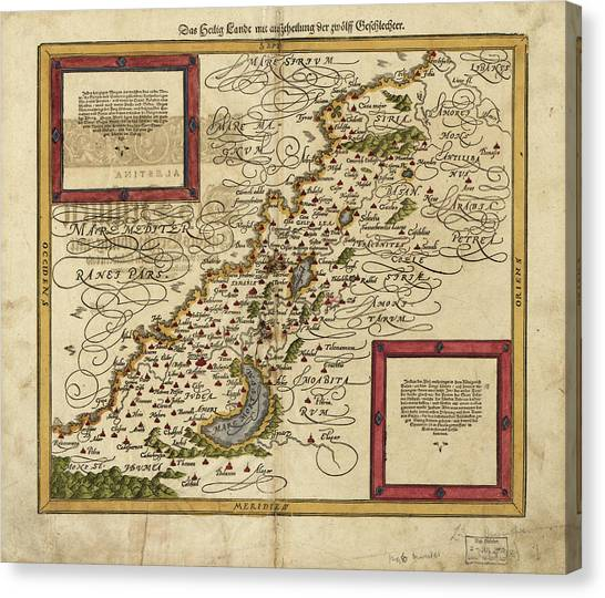 Palestinian Canvas Print - Map Of Palestine by Library Of Congress, Geography And Map Division/science Photo Library