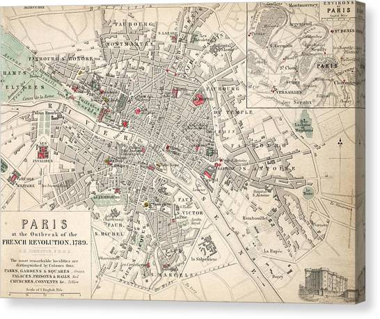 Outbreak Canvas Print - Map Of Paris At The Outbreak Of The French Revolution by French School