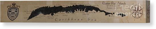 Map Of Roatan Bay Islands Canvas Print